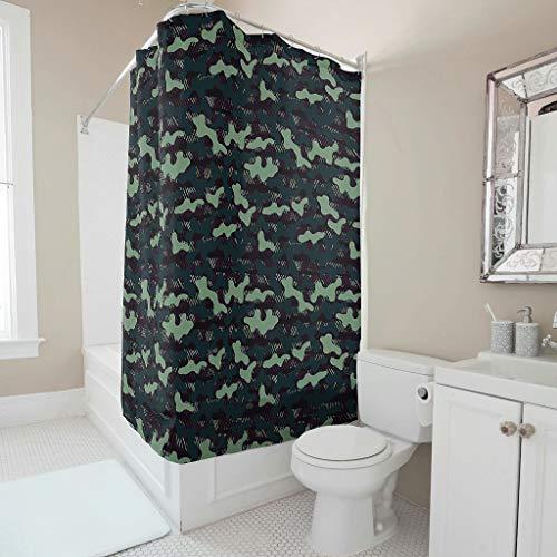 Charzee douchegordijn camouflage ArmyGreen patroon wasbaar camo gordijn 120x200cm badkuipgordijn voor de badkamer