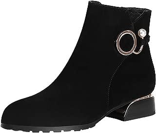 FAPIZI Women Ankle Boots Fashion Closed Toe Chunky Heels Low Heel Buckle Faux Suede Zipper Short Boots Plus Size Boots