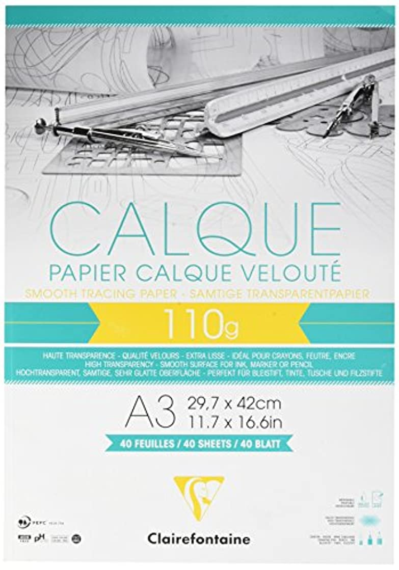 Clairefontaine A3 Tracing Paper Pad, 110 g, 40 Sheets