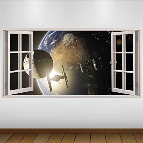 LagunaProject Extra Grande Star Wars Estrella de la Muerte la fantasía de Vinilo 3D Póster - Mural Decoración - Etiqueta de la Pared -140cm x 70cm