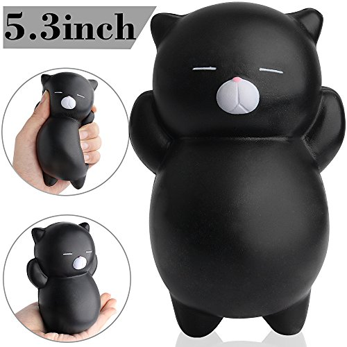 Outee 5.3 Inch Jumbo Cat Squishies Slow Rising Toys Cat Kawaii Squishies Soft Slow Rising Squeeze Toys, Black