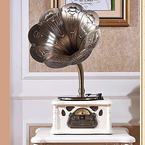 LDGS&TTW Turnaprestable de la Vendimia del fonógrafo de la Radio de Big Horn con el Receptor de Bluetooth y los Altavoces incorporados 45 RPM Adaptador, 3 velocidades giratorias