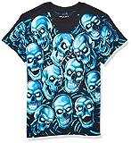 Liquid Blue unisex adult Skull Pile Blue Fantasy All Over Print Short Sleeve T-shirt T Shirt, Black, Large US