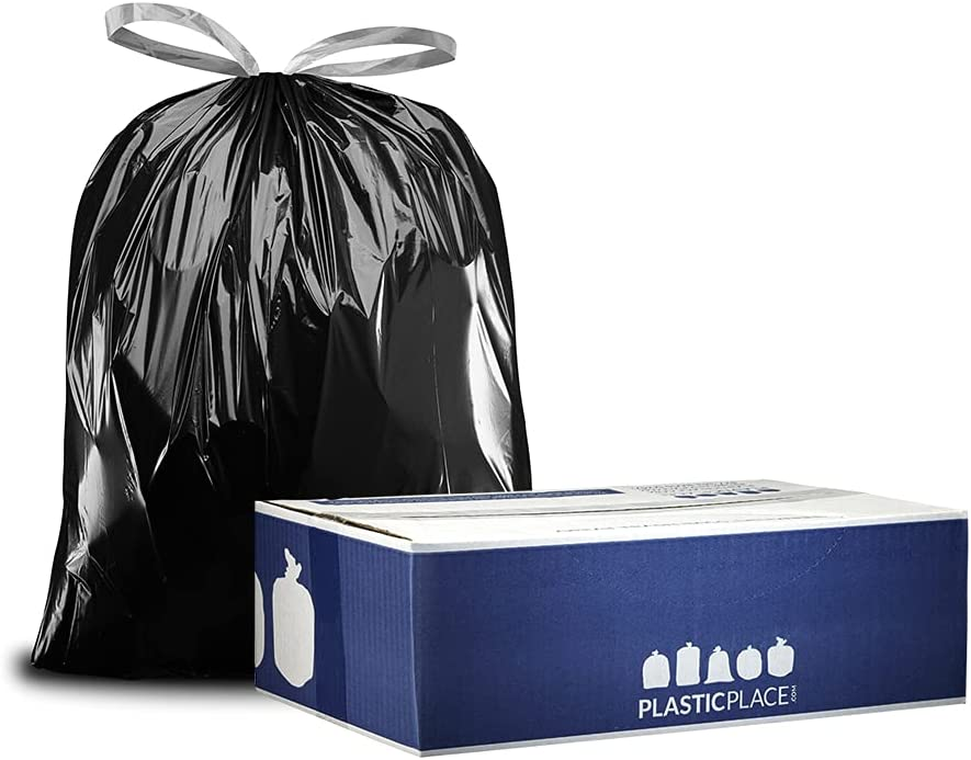 Plasticplace 32-33 Manufacturer OFFicial shop Gallon Trash Bags 1.2 Mil │ Drawstring NEW