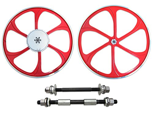 BBR Tuning 26 Inch Heavy Duty Mag Wheel Set for Mountain Bikes, Beach Cruisers, Hybrid Bikes and Motorized Bicycles (Red)