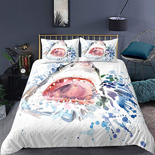 Feelyou Sea Animals Duvet Cover Set King Size 3D Print Shark Bedding Set Decorative Ocean Marine Microfiber Polyester Comforter Cover with 2 Pillow Shams, Zipper, Soft 3 Pieces, Watercolor