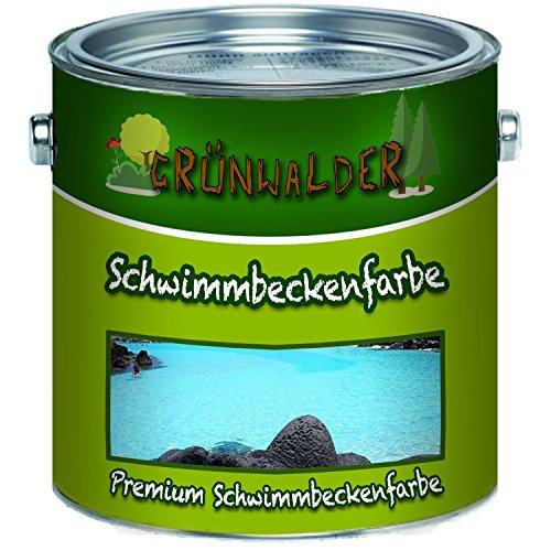 Grünwalder Schwimmbeckenfarbe premium Poolfarbe in Blau Weiß Grün Seegrün Grau Anthrazitgrau Lichtgrau ungiftige, wasserdichte Teichfarbe (1 L, Moosgrün)