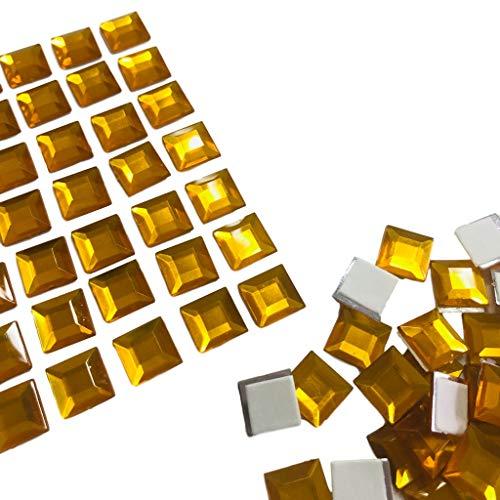 FAIRY TAIL & GLITZER FEE 200 piedras de mosaico autoadhesivas, 1 cm, para manualidades, niños, color azul, rojo, amarillo, naranja, plateado, multicolor, piedras brillantes (amarillo)