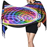 Tengyuntong Rainbow Color Abstract Circle Wrap Scarf Winter Warm Cashmere Shawl Scarf Lightweight Portable Headscarf Comfortable Women Neck Scarf Durable Luxurious Outdoor Scarf Neckerchief For Autumn