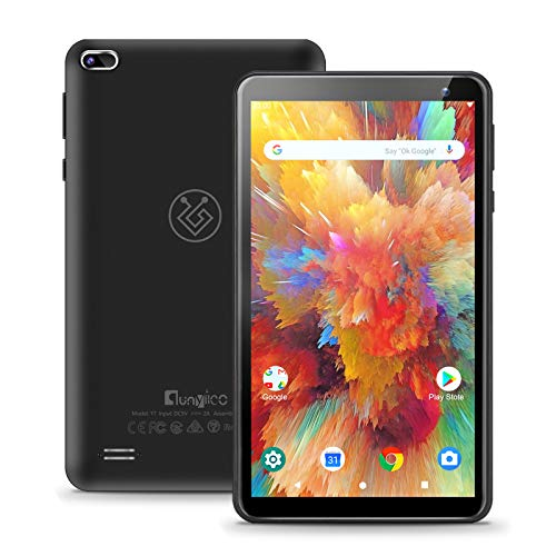 qunyiCO Tablet Android 10.0 Go Y7 da 7 Pollici, 2GB di RAM 32GB di archiviazione, Schermo IPS HD Quad-Core 1024x600 con Doppia Fotocamera,Certificazione Google GMS 3000mAh Nero