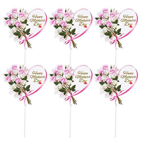 Adorno para tartas con forma de corazón de Joyooy, decoración de cupcakes, decoración floral para el día de la madre, 10 unidades (oro rosa)