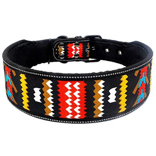 Tangpan Reflektierendes gepolstertes Halsband für Hunde und Katzen, mit Aufdruck von Hunden, aus Segeltuch, bunt gewellt, Größe S