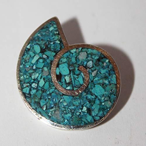TIny ammonite brooch, made with chrysocolla