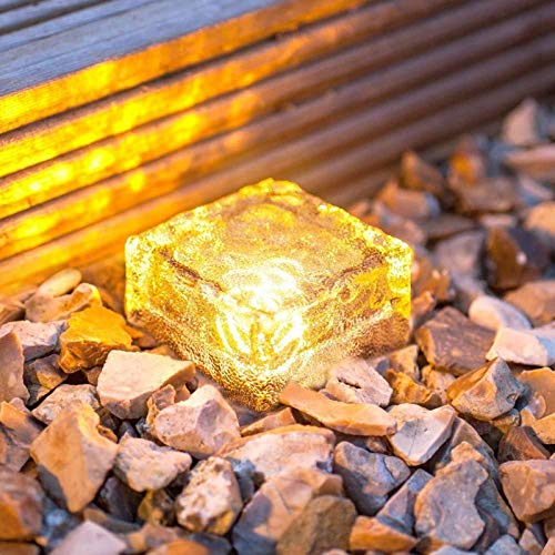 XingTong Solar Ice Cube Lights Solar Brick Light 4LED Landscape Light Crystal Brick Light Waterproof or Outdoor Garden Patio Yard Lawn Pool Decoration 4 Pack (Upgraded Package) (Warm White)