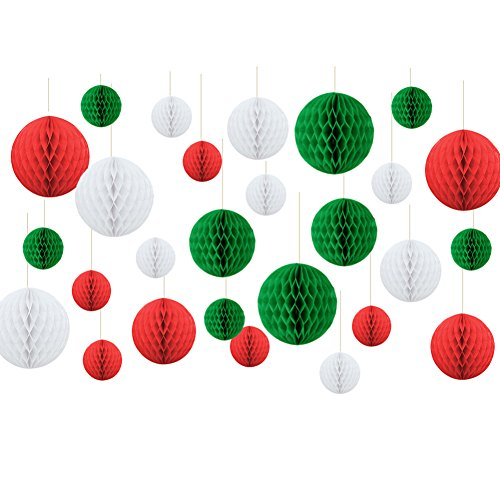 Christmas New Year Hanging Decoration Paper Honeycomb Balls Xmas Party Favor Baby Shower Birthday Wedding Home Decoration Red White Green SUNBEAUTY 27 Pieces