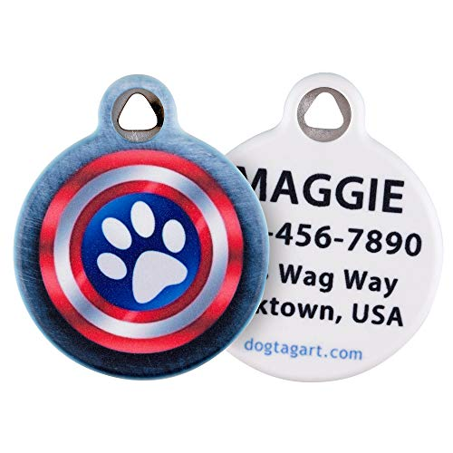 Dog Tag Art Cat or Dog Tag, Personalized Name Tag for Pets (Canine America Shield)-Large