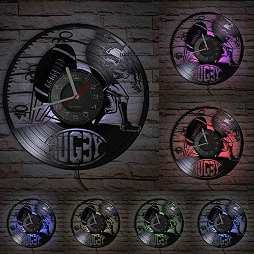XYVXJ Reloj de Pared Decorativo de Partido de Rugby, Reloj de Pared Deportivo de fútbol de Rugby del Reino Unido, Arte de Registro de Vinilo Tallado para Jugadores
