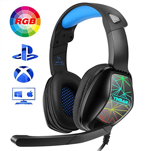 YINSAN Cascos PS4 para Niños, Cascos Gaming Estéreo da 3,5 mm Jack con Micrófono Flexible y Luz LED RGB, Auriculares Gaming Profesionales para Xbox One Nintendo Switch Laptop Tablet PC Mac Smartphone
