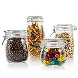 Masthome 4 Piezas Recipientes de Almacenamiento de Alimentos con Tapas,Tarros de Cristal H...