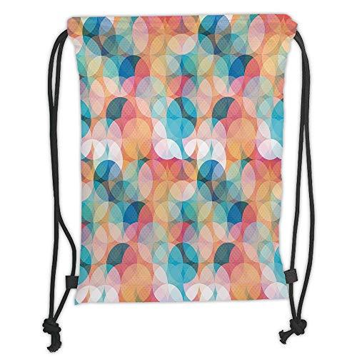 Fevthmii Drawstring Backpacks Bags,Geometric,Soft Toned Hazy Overlap Circles Mosaic Birthday Party Pastel Design,Peach Rose Blue Coral Soft Satin,5 Liter Capacity,Adjustable String Closure,