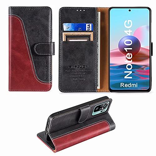 FMPCUON Handyhülle für Xiaomi Redmi Note 10 4G/Redmi Note 10S Hülle Leder,Premium Klapphülle Handytasche Flip Hülle Handy Hüllen Schutzhülle für Xiaomi Redmi Note 10 4G/Note 10S (6.43 Zoll),Rot/Schwarz