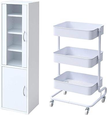 【食器棚&ワゴンセット】山善 食器棚 幅32×奥行29×高さ120cm スリム マグネット式 棚板可動 一人暮らし 組立品 ホワイト CCB-1230(WH) + 専用ワゴン