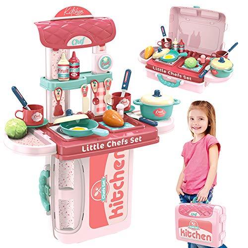 Dreamon Juguetes de Cocina para Muchachas Niños, Accesorios Cocina con Maleta Juego Educativo, Navidad Regalo para Niños Muchachas 3 4 5 Años