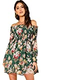 Romwe Women's Sexy Off Shoulder Dress Floral Print A Line Fit and Flare Mini Dress Green L