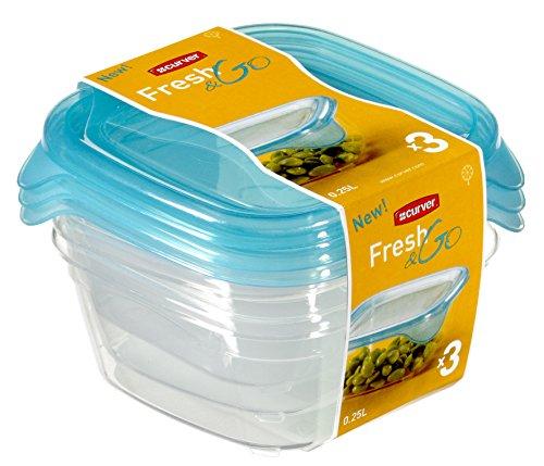 CURVER Vorratsdose-Set Fresh&Go 3x0,25l in transparent/ozeanblau, Plastik, 35 x 25 x 10 cm