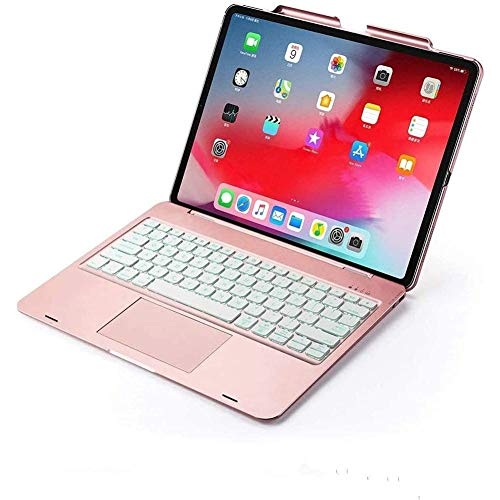 iPad Air 4 2020 10.9 Inch Keyboard Case with Touchpad&Pencil Holder, Backlits Bluetooth Keyboard Flip Smart Cover for iPad Air 4th Generation 2020 (Rose Gold without Rotate)