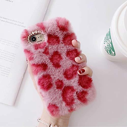 Miagon Pelz Hülle für Xiaomi Redmi Note 9 Pro,Glitzer Leopardenmuster Weich Warm Kunstpelz Plüsch Fluffy Flexibel Schutz Handytasche Case Cover,Rot