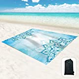 """Hiwoss Beach Blanket SandProof Waterproof Oversized 95""""x 80"""",Sand Free Beach Mat with Corner Pockets,Portable Mesh Bag for Beach Festival,Picnic,Travel and Outdoor Camping,Turquoise Blue Mandala"""