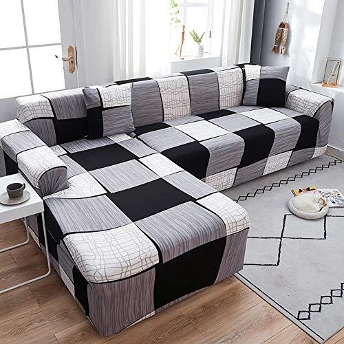 Fsogasilttlv Funda elástica para sofá 4 plazas 1 Uds, Funda elástica para sofá para Sala de Estar, Funda para sofá, Chaise Longue en Forma de L, Funda Universal JJ