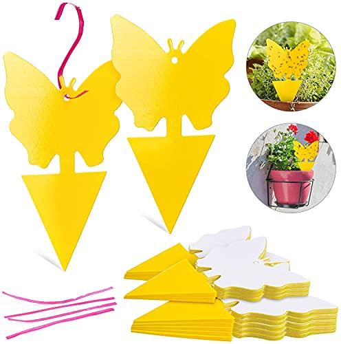 50 Piezas de Trampa para Moscas Colgando y Placas Amarillas Enchufables Planta de Protección de Pegatina Amarilla de los Insectos, Pulgones Mosquitos, Moscas de Hoja y Moscas Blancas