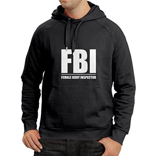 lepni.me Kapuzenpullover FBI - weiblicher Körper Inspektor - lustige Geschenke für Männer, humorvolle Zitate (Small Schwarz Weiß)
