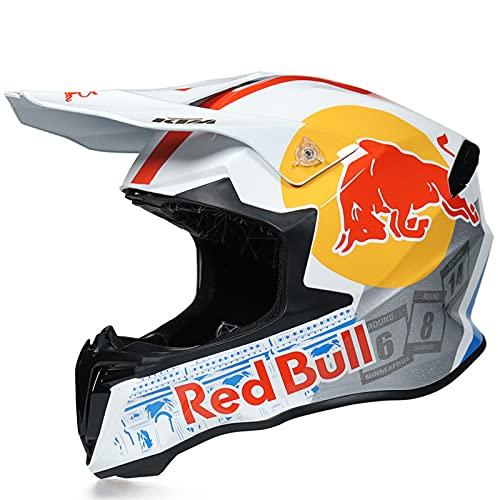 IDWX Casco Todoterreno para Motocicleta, Casco De Rally con Cobertura Completa para Hombres Y Mujeres, Casco Integral De MontañA De Cuatro Estaciones, S-XL, Red Bull Blanco