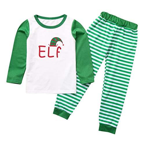 Hui.Hui Noël Costume Parent-Enfant Famille Vêtements T-Shirt à Imprimé Alphabet Pullover Tops et Pantalon à Carreaux de Tenues pour Enfants 2-8 Ans