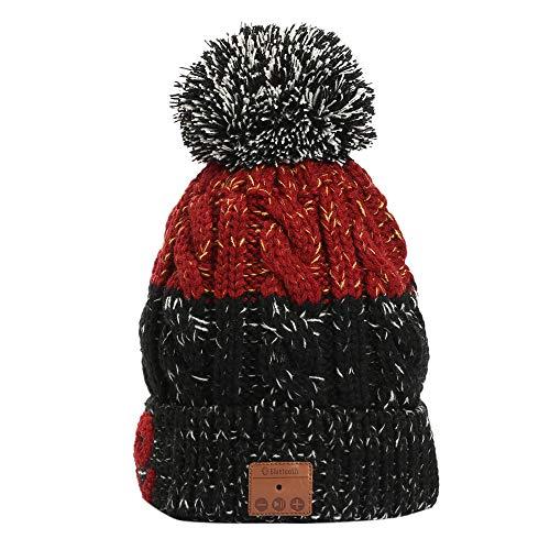 KPPONG Winter Essential Verdicken Warme Mich Weihnachten Drahtlose Bluetooth Beanie Hut Abnehmbare Stereo-Lautsprecher Mikrofon Blau