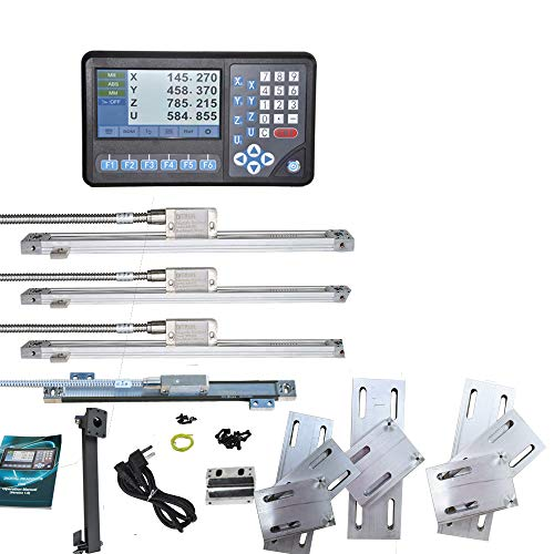 4 Axis LCD 7'' With RPM DRO, Digital Readout Display, 4Pcs IP67 5um High Accuracy Magnetic scale Encoder 50~1000mm (2~39inch) Kit,For Lathe Milling Bridgeport Quill Drill Machine