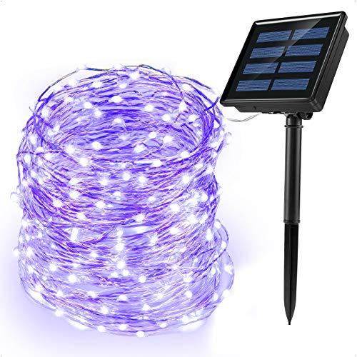 Ankway Solar Lichterkette Weihnachten 200 LED mit 3-Strang Kupferdraht, Wasserdichte LED Lichterketten 72 ft/ 22M Deko für aussen/innen, Zuhause, Balkon, Fenster, Baum, Außen Dekoration (Lila)