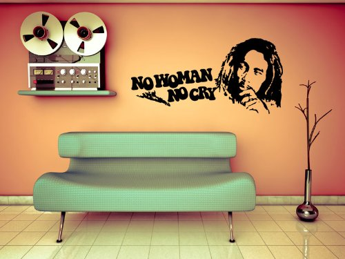 Wandtattoo Wandaufkleber Bob Marley No Woman No Cry #78A schwarz 100cm x 50cm (RAL9005) VERSANDKOSTENFREI!