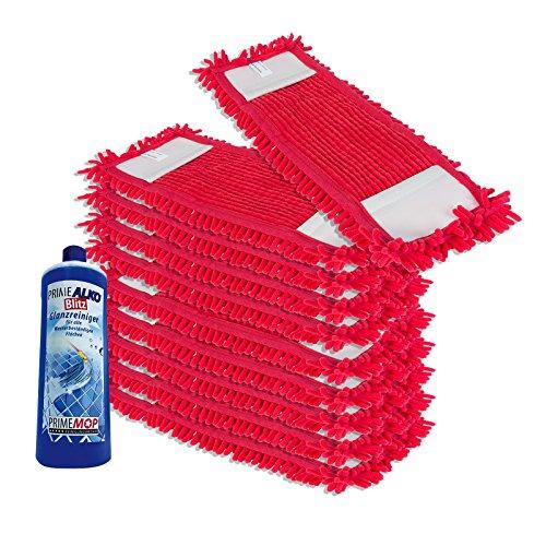 PrimeMop 10x Chenille Wischmopp aus Microfaser Rot für Parkett Laminat 50cm + Reiniger GRATIS