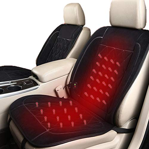 NBSMN Auto Sitzheizung Heizkissen Autositz 12-24V Auto Beheiztes Sitzkissen 30-60°C Gleichmäßige Erwärmung Heizauflagen Auto Sitzbezüge, Mit Dual-Interface-ladegerät
