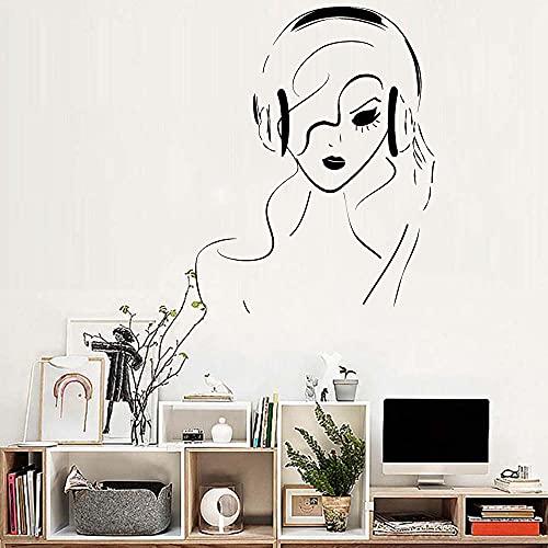 Dormitorio Decorativo Niña Auriculares Vinilo Extraíble Adhesivo de Pared Musical Teen Room Music Wall Art Pegatinas Mural Monocromo Calado Papel pintado Decorativo (Color: H627 Gris, Tamaño: 42 * 54)