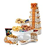 Broadway Basketeers Towering Heights Assorted Chocolate, Cookies and Sweets Gift Tower, Perfect Gift Father's Day, Friends, Corporate Gifts, Birthdays, And More!