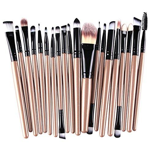 Haodou Lot de 15 outils de maquillage professionnels - Avec étui - Pour fard à paupières, visage et anti-cernes - Bleu clair + doré