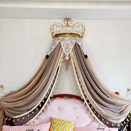 BAIHAO Princesa Cama con Dosel con Corona Lindo Color Macaron Hilo Decorativo Cortinas de Cama Tienda de campaña Triángulo de Encaje Mosquitera para habitación de niños Decoración de cabecera
