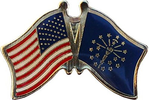 Wholesale Pack of 6 USA American State Indiana Flag Bike Hat Cap lapel Pin