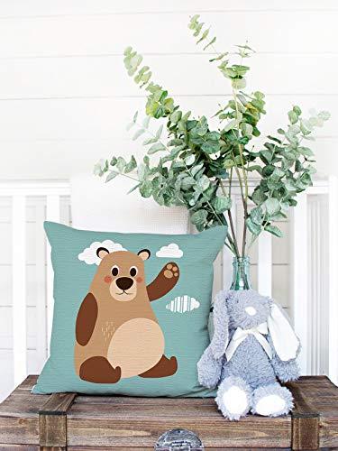 Fundas de almohada decorativas para guardería, 45 x 45 cm, funda de cojín de lino y algodón