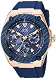 GUESS Comfortable Iconic Blue Stain Resistant Watch with Rose Gold-Tone Day, Date + 24 Hour Military/Int'l Time. Color: Blue (Model: U1049G2)